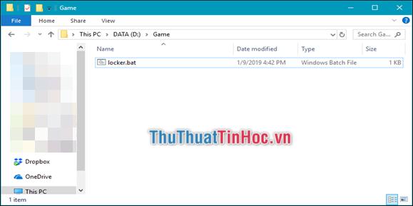Thư mục Private biến mất, chỉ còn lại duy nhất file locker.bat