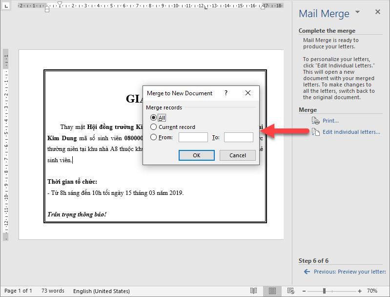 Chọn cách xuất ra một file khác thì click vào Edit individual letters...