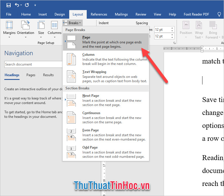 Click vào Break trong mục Page Setup và chọn Page trong phần Page Breaks