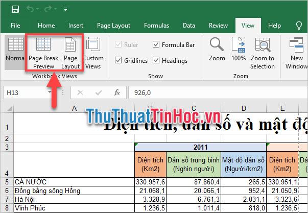 Có hai kiểu hiển thị dữ liệu Page Break Preview và Page Layout