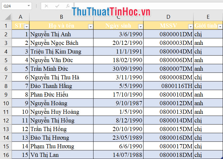 Danh sách khách mời bằng file Excel