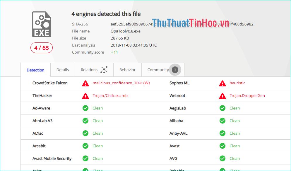 Nếu file có virus sẽ hiện mục màu đỏ cảnh báo