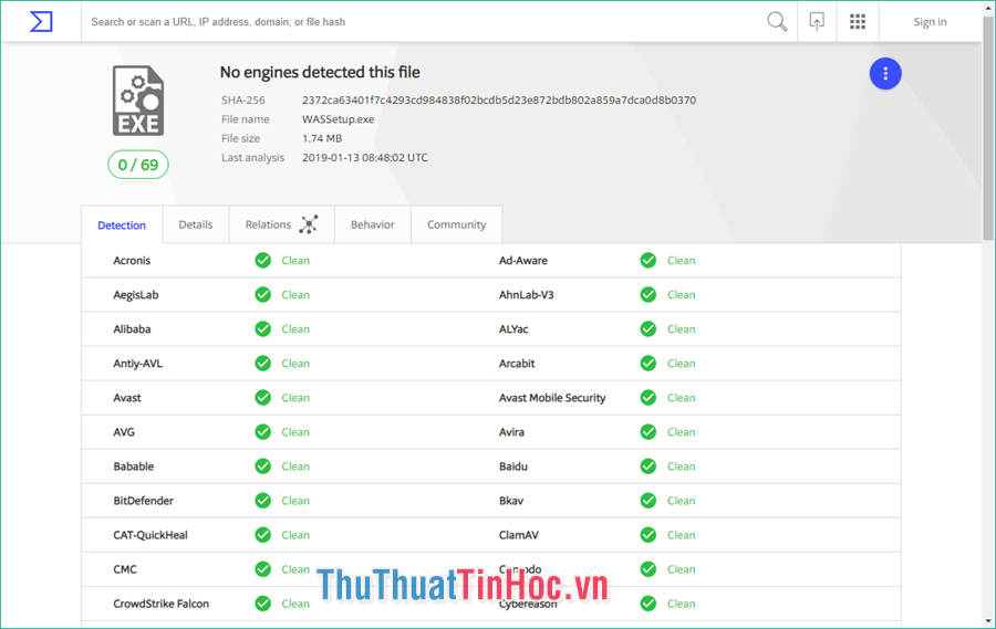 Nếu tất cả các mục đều Clean thì file không nhiễm virus