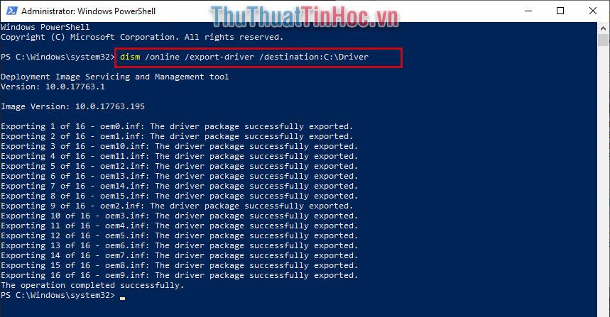 Nhập dòng lệnh dism /online /export-driver /destination:C:\Driver