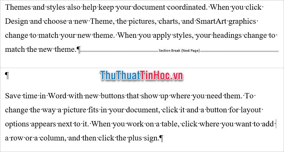 Việc ngắt trang này ngắt văn bản ra thành hai vùng Section khác nhau