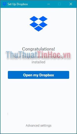 Nhấn Open my Dropbox để vào trong thư mục Dropbox