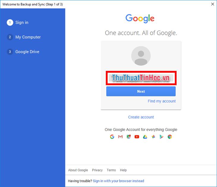 Đăng nhập vào tài khoản Google của mình tại bước Sign in