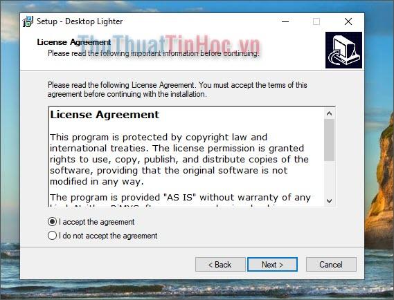 Cài đặt phần mềm Desktop Lighter