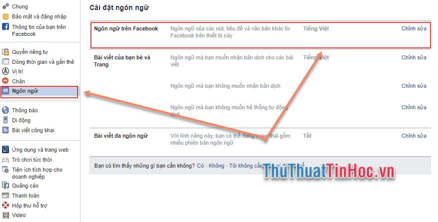 Chọn Ngôn ngữ trên Facebook và nhấn vào Chỉnh sửa để thay đổi