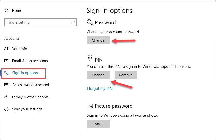 Chọn phần Sign-in Option và chọn cách đặt mật khẩu máy tính