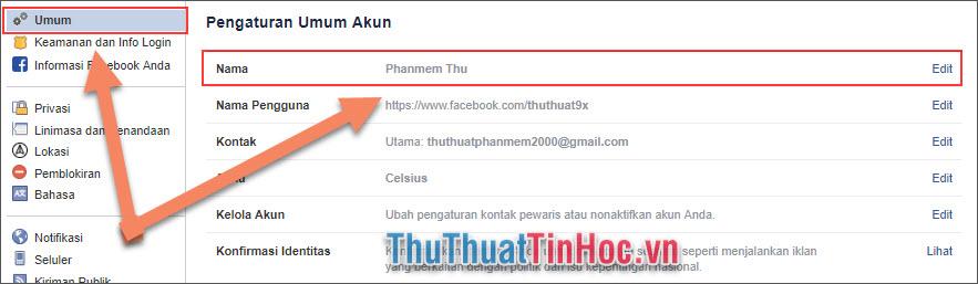 Chọn Umum, sau đó nhấn vào phần Edit của dòng Nama