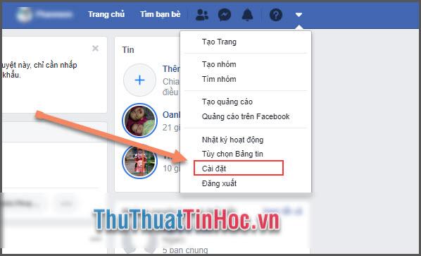 Mở phần Cài đặt Facebook