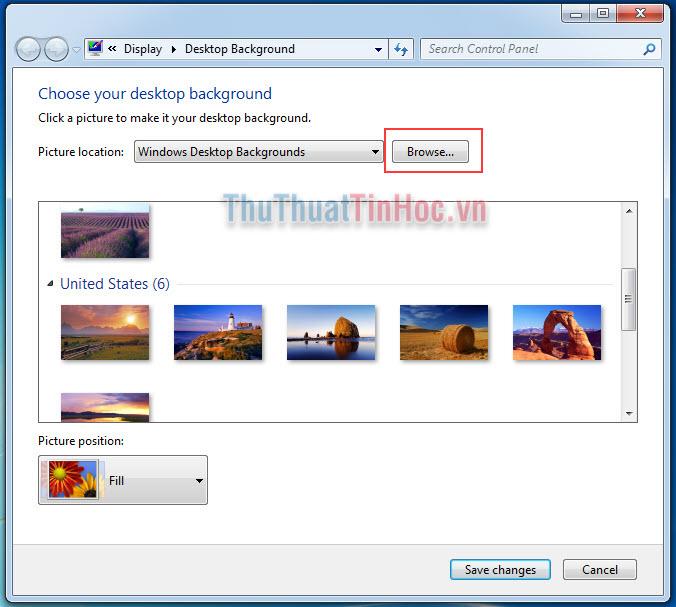 Chọn hình nền có sẵn của Windows