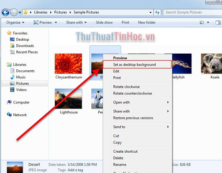 Click chuột phải vào ảnh rồi chọn Set as desktop background