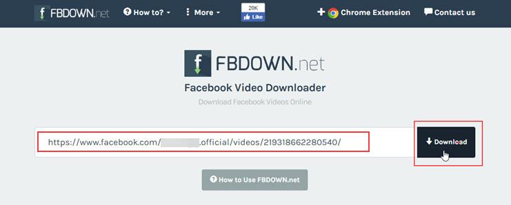 Dán đường link vào ô trống trên fbdown.net và nhấn vào Download