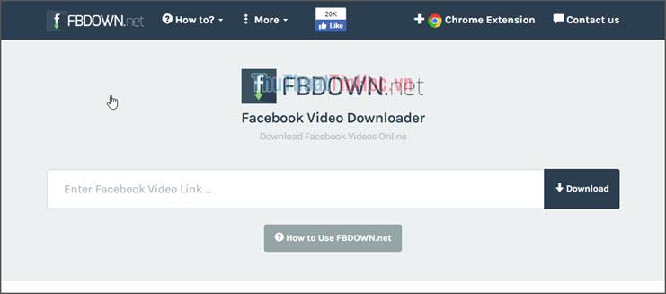 Truy cập trang web fbdown.net