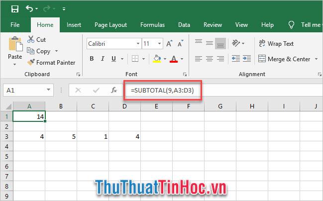 Cách dùng của hàm SUBTOTAL