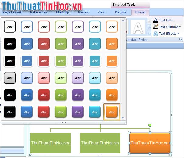 Lựa chọn định dạng của dữ liệu ghi trên sơ đồ trong ribbon Format
