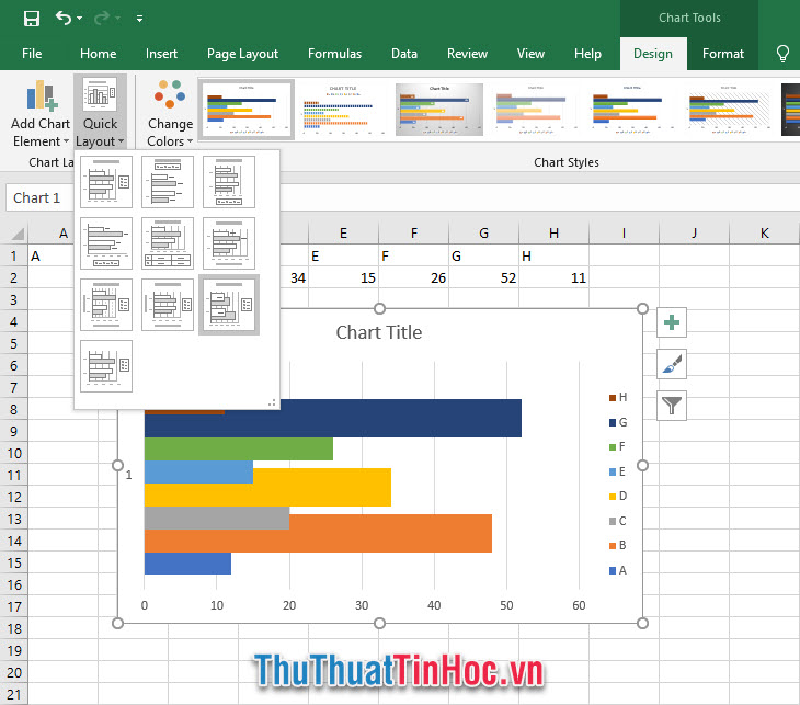 Quick Layout là chức năng cũng nằm trong mục Chart Layout