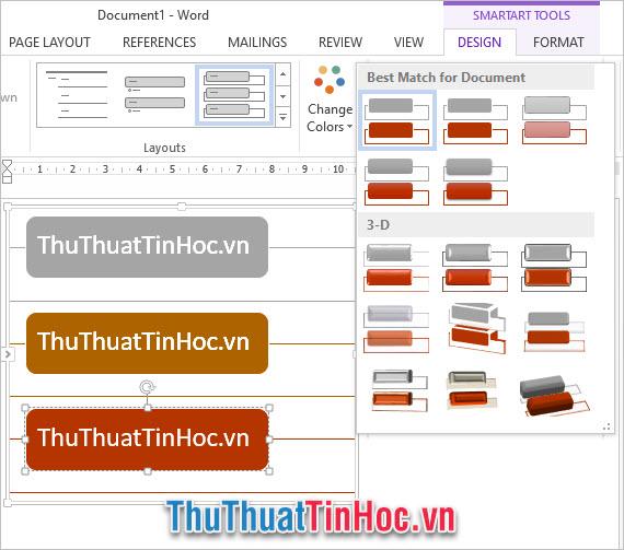 Tùy chỉnh các định dạng của sơ đồ trong ribbon Design