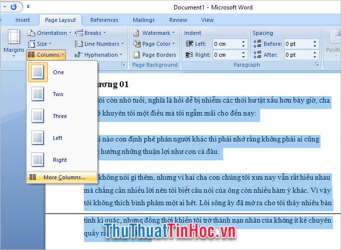 Cách chia cột trong Word 2007