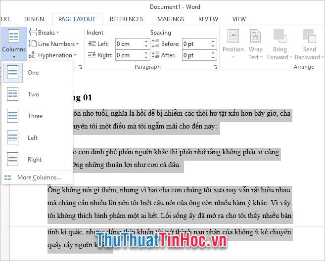 Cách chia cột trong Word 2013
