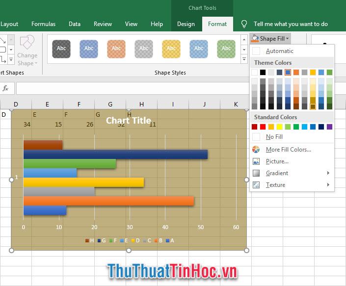 Chỉnh màu nền cho đồ thị biểu đồ Excel