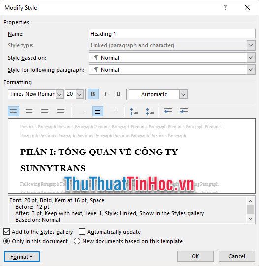 Chỉnh sửa lại định dạng của các mục các phần trong Formatting
