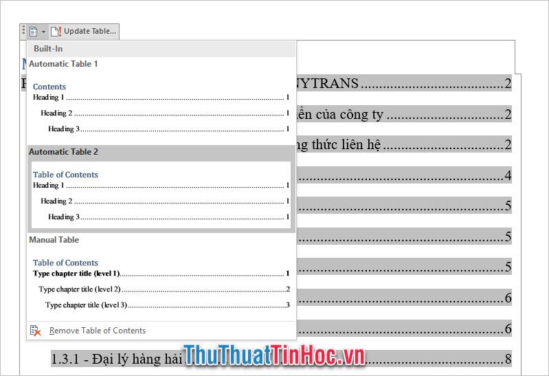 Chức năng Table of contens để chỉnh sửa lại kiểu dáng mục lục khác