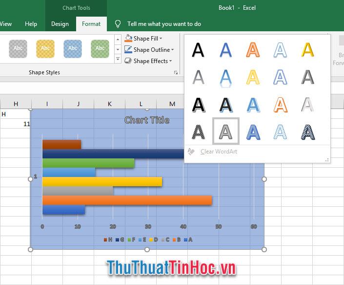 Điều chỉnh các style chữ trên biểu đồ trong mục WordArt Styles