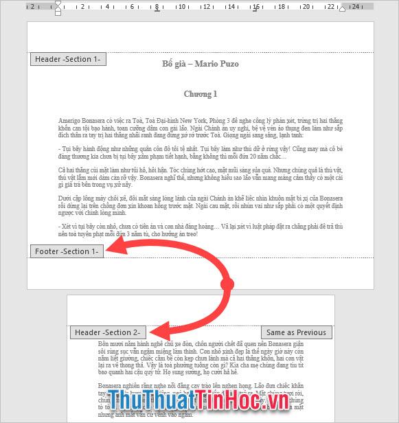 Hai Section khác biệt là Section 1 và Section 2 đã giúp tách biệt chế độ xoay trang giấy