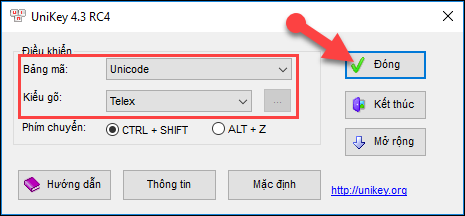 Lựa chọn Bảng mã Unicode - Kiểu gõ Telex