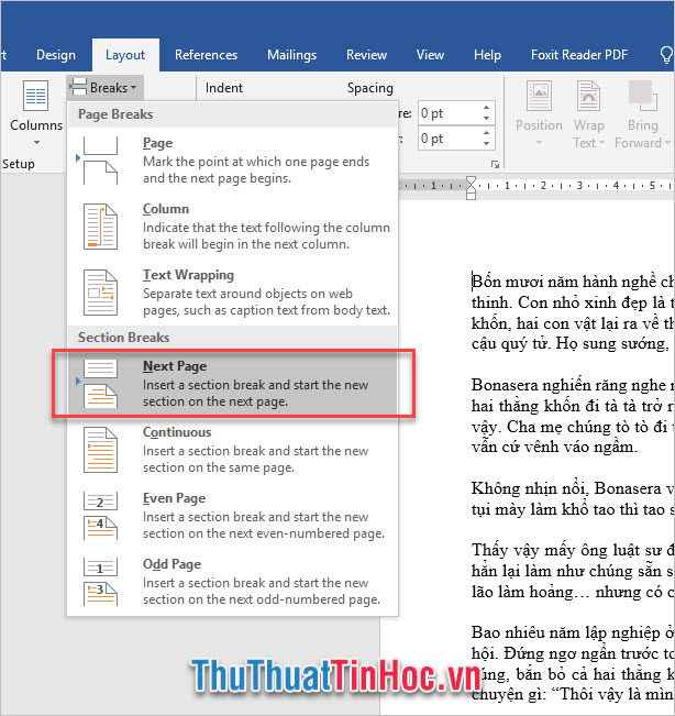 Mở ribbon Layout, chọn Break trong mục Page Setup