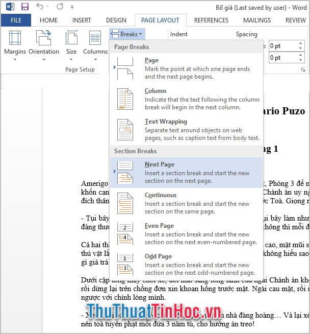 Tách Section ở phiên bản Word 2013