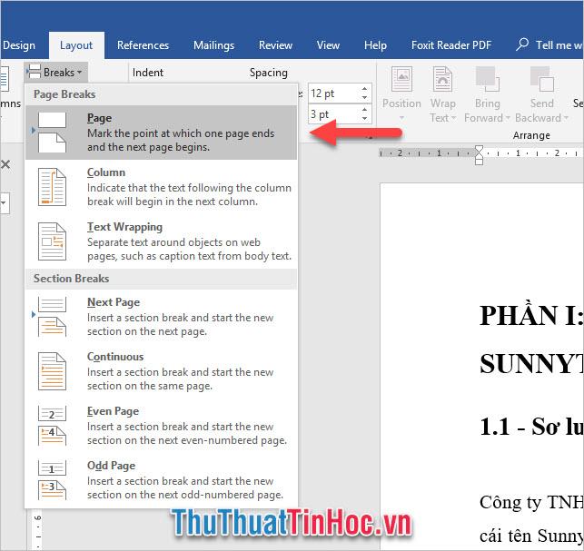 Vào ribbon Layout, click vào Break trong phần Page Setup rồi chọn Page trong Page Breaks