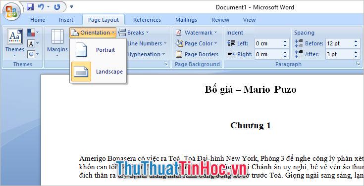 Xoay trang giấy ở phiên bản Word 2007