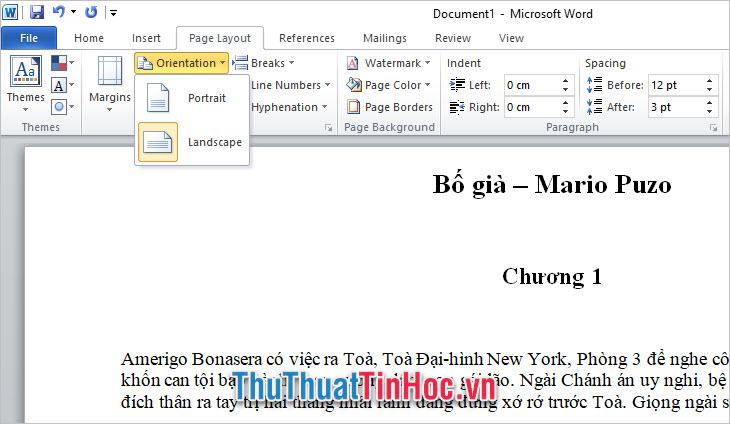 Xoay trang giấy ở phiên bản Word 2010