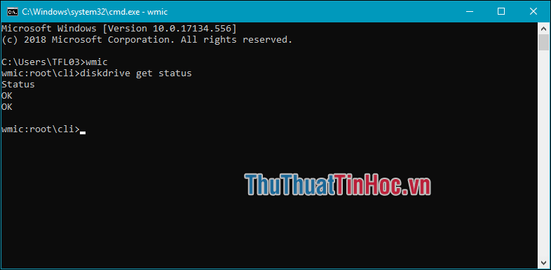 Nhập lệnh wmic → tiếp theo đó nhập diskdrive get status