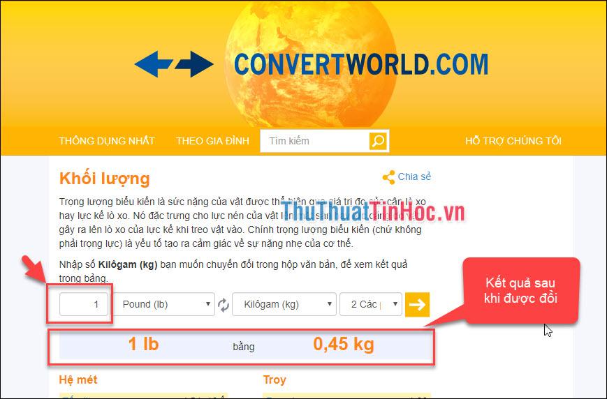 Truy cập trang convertworld để thực hiện việc chuyển đổi