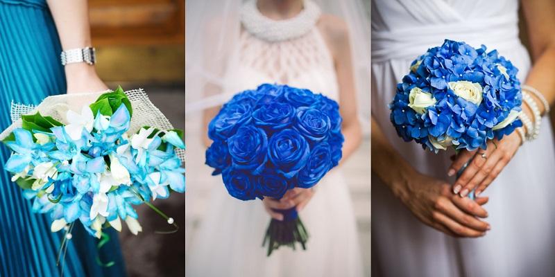 Hoa cưới cầm tay màu xanh
