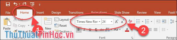 Chỉnh cỡ chữ và kiểu chữ