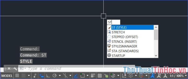 Mở cửa sổ Text Style