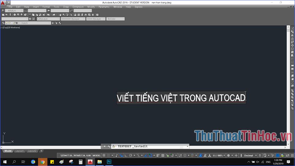 Cách gõ tiếng Việt trong AutoCad