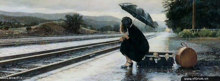 Ảnh bìa cô gái cô đơn đợi chuyến tàu trong mưa