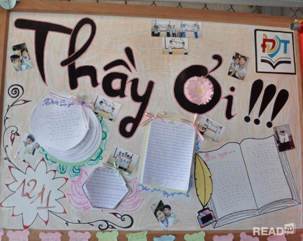 Báo tường của lớp 12A1 với chủ đề Thầy ơi