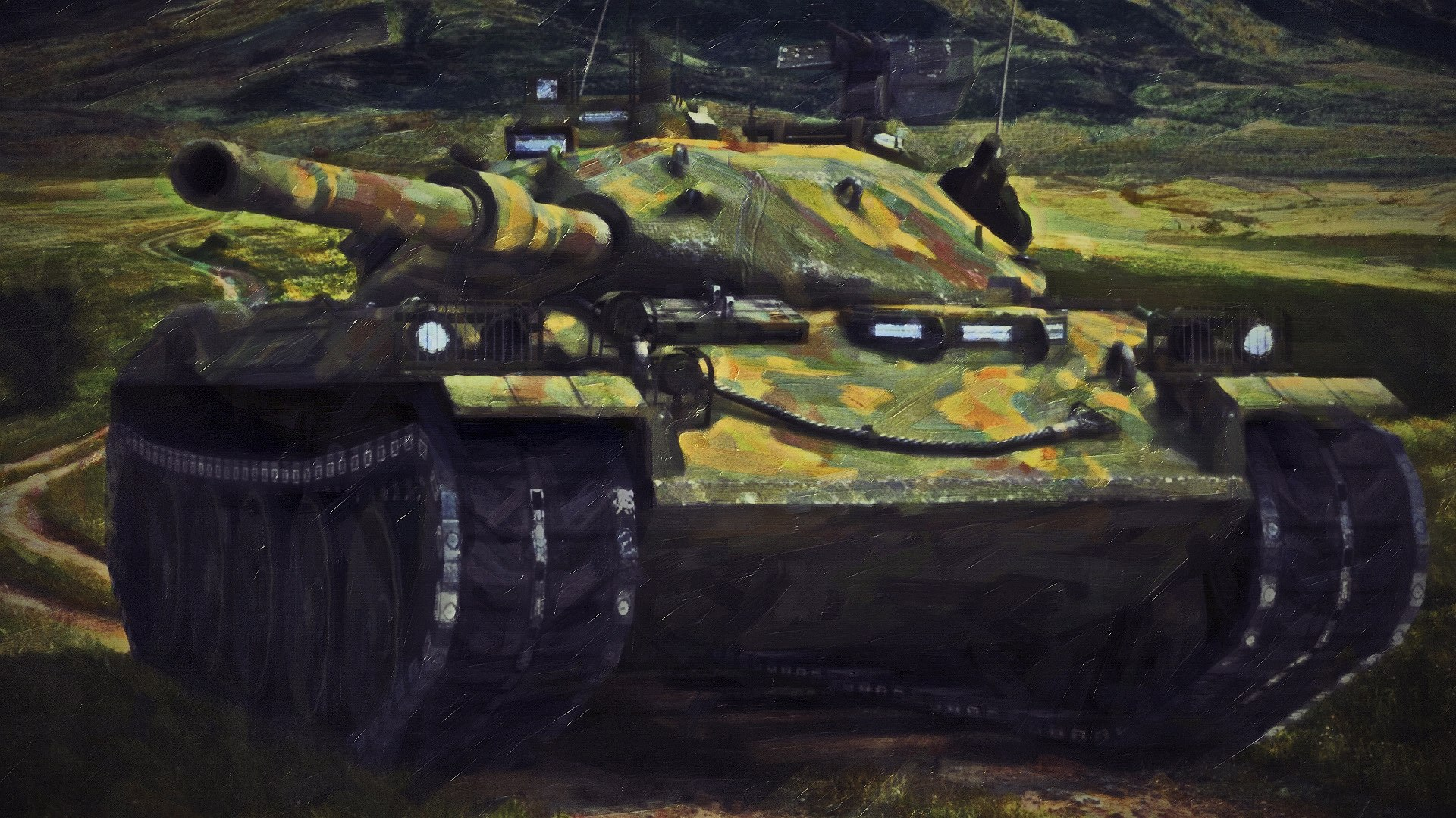 Hình nền máy tính xe tank được vẽ theo phong cách sơn dầu