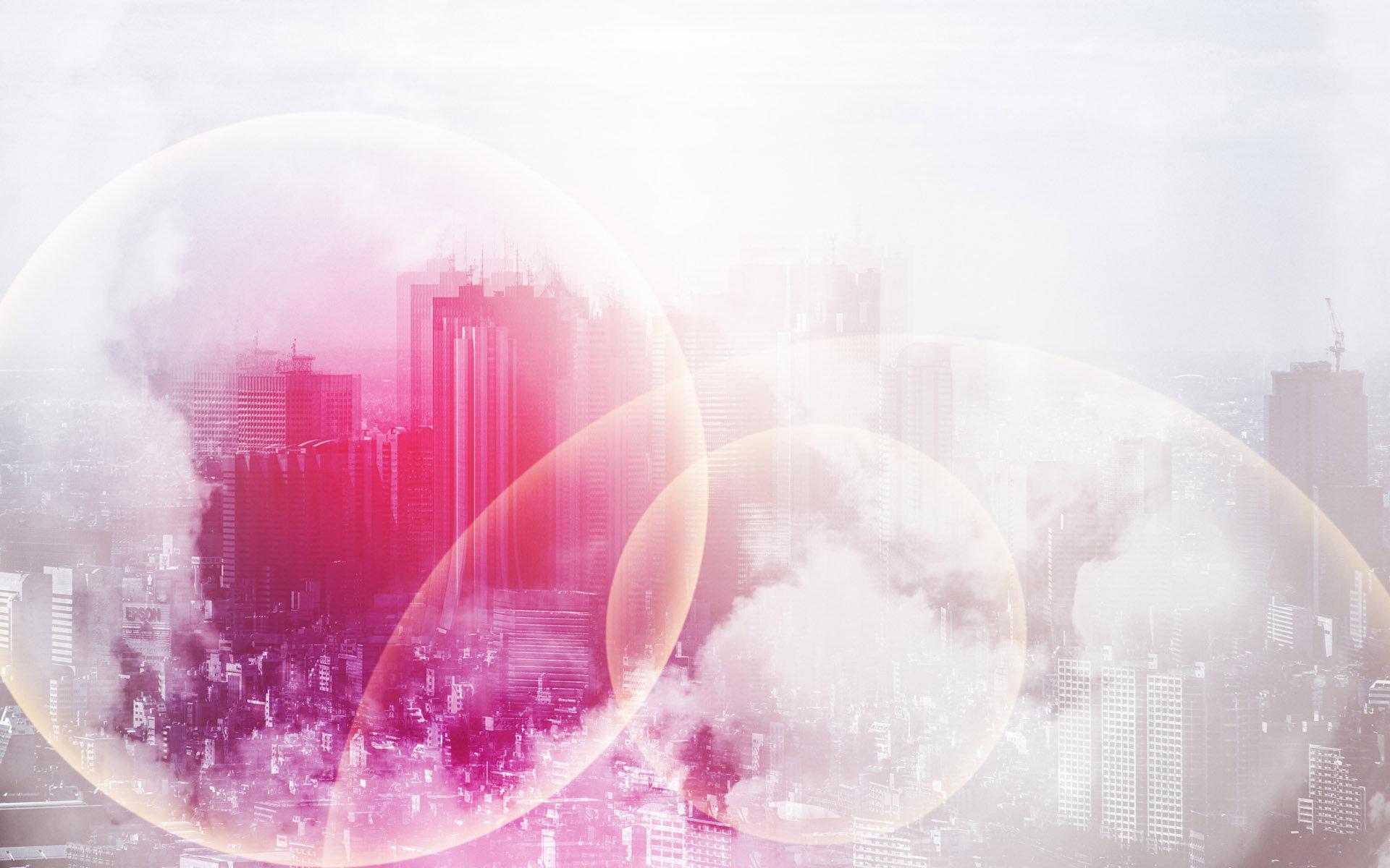 Hình nền thành phố màu hồng lung linh cực đẹp