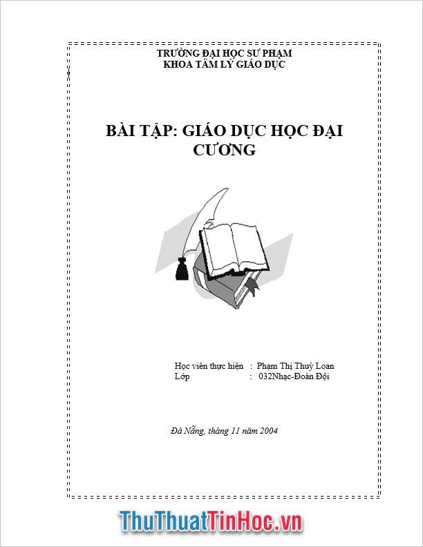 Bìa bài tập giáo dục đại cương khoa tâm lý giáo dục
