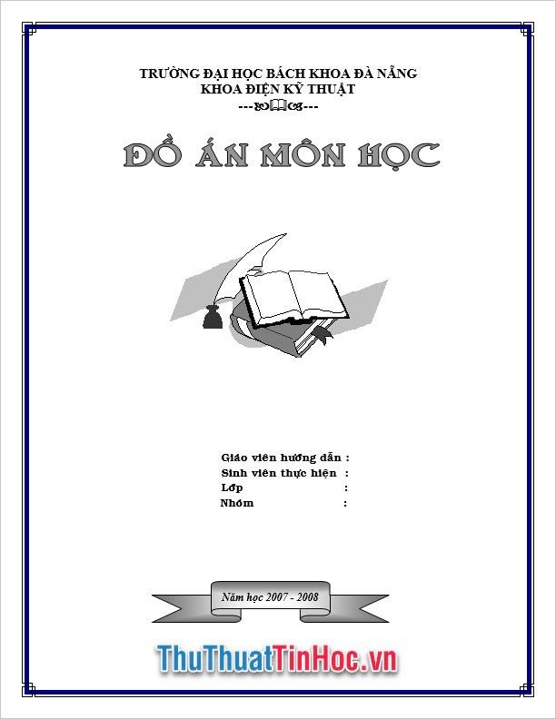 Bìa đồ án môn học với thiết kế đơn giản