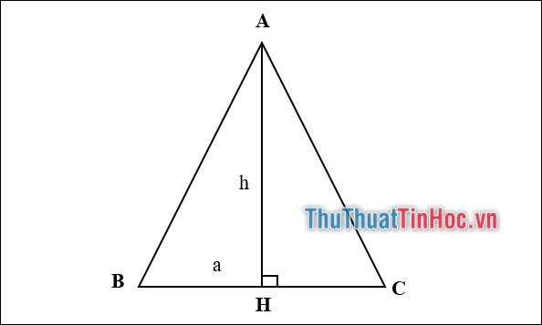 Cách tính diện tích tam giác cân